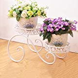 HZB White European Style Iron Flower Rack Multi Storey Balcony Living Room Ground Indoor and Outdoor Green Lace Floral Shelf (Size : L472725.3cm)