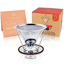 Glowcoast Pour Over Coffee Dripper - Permanent, Reusable Cone Coffee Filter Works With Chemex and Hario V60. Stainless Steel Mesh Pourover Coffee Maker Brews 1-4 Cups. Makes You Richer Tasting Coffee.