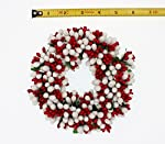 6.5-inch Beaded Berry Wreath Candlering Candle Ring Christmas Red White