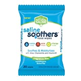 Saline Soothers Wipes Soft Natural Saline Wet Tissues for Face and Nose with Moisturing Aloe, Chamomile, and Vitamin E, Fragrance Free, 20 Count