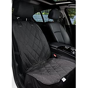 BarksBar Pet Front Seat Cover for Cars - Black, Waterproof & Nonslip Backing 4