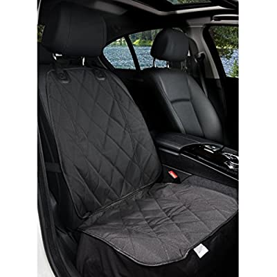BarksBar-Pet-Front-Seat-Cover-for-Cars-Black-Waterproof-Nonslip-Backing-with-Anchors-Quilted-Padded-Durable-Pet-Seat-Covers-for-Cars-Trucks-SUVs