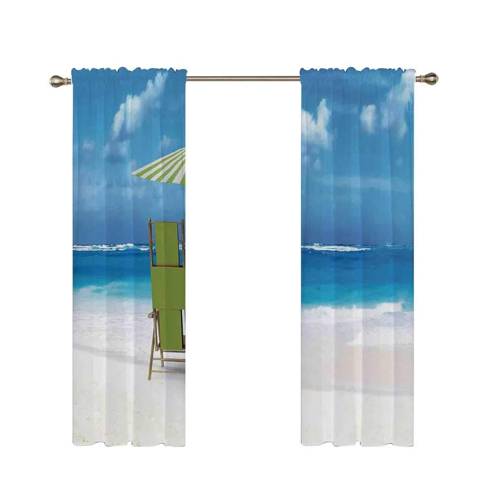 C COABALLA Seaside Utility Shading Rod Curtain,Sunshade Drinks Pair of Reclining Chairs Facing to Ocean Seascape for Home,56.6'' W x 40.5'' H