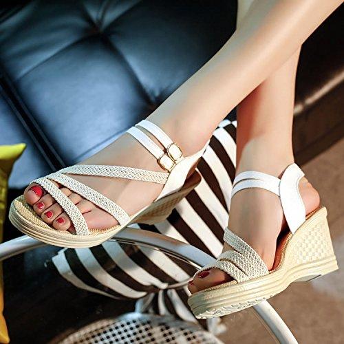 di eight KPHY 39 moda scarpe le tutte sandali signore white con Thirty cunei basse 4qqZwOt