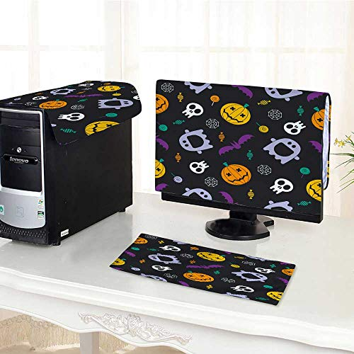 UHOO2018 Computer Cover 3 Pieces halloweenbackground Mystic with Pumpkins Skull Ghost bat Candies Antistatic, Water Resistant /19