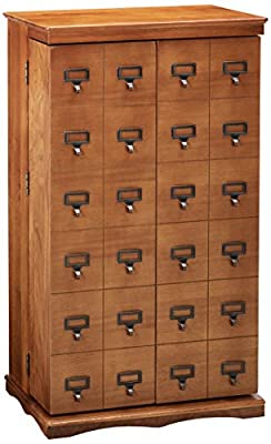 Leslie Dame Solid Hardwood Mission Style Multimedia Storage Cabinet with Library Card Catalog Style Doors