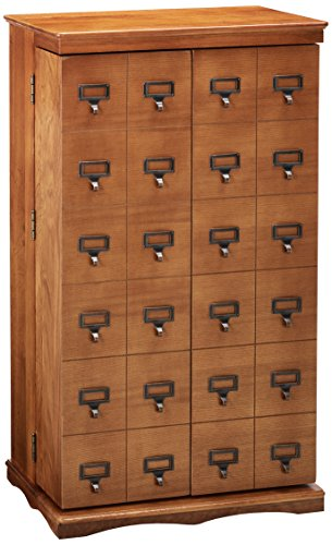 Leslie Dame CD-612LD Solid Oak Mission Style Multimedia Storage Cabinet with Library Card Catalog Style Doors, Dark Oak