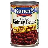 Kuner's Dark Red Kidney Beans - No Salt Added 15 oz. (Pack of 2)