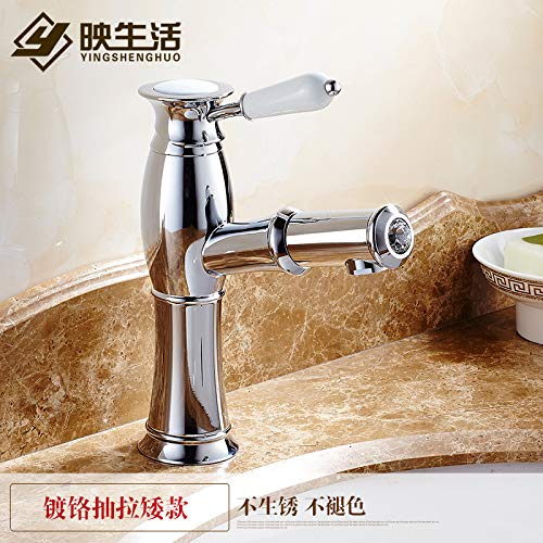 1 LHbox Basin Mixer Tap Bathroom Sink Faucet Pull-down faucet basin gold taps continental gold-copper antique hot and cold single hole basin mixer, silver-white porcelain,