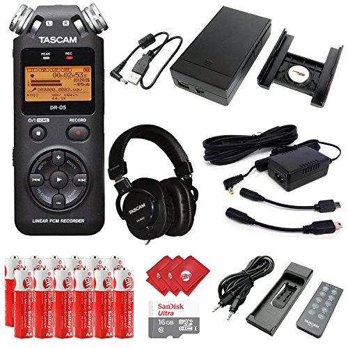 TASCAM Portable Digital Recorder with Microphones, DSLR Accessory Pack, Mixing Headphones, External Battery Pack, AC Power Adapter, 16GB Memory Card, 12pcs Batteries and 3pcs Microfiber Cloth (DR-05) by Circuit City
