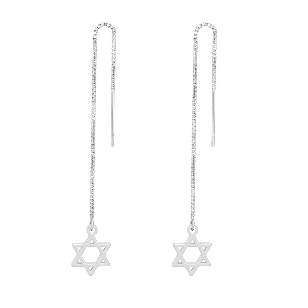 TUSHUO Simple David Star Earrings Dangle Style Star of David Long Chain Threader Earrings (Silver)