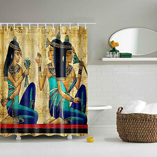 gongli3352 3 Egyptian Women Holding Flowers in Yellow Background Bathroom 3D Printing Moisture Proof Mildew Bathroom Decoration Bathroom Curtain 70X70 inches