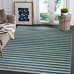 "Venice Natural Bamboo 5' X 8' (60""x96"") Floor Mat, Bamboo Area Rug Indoor Carpet, Elegant Blue/Green Color Finish, Non Skid Backing, Floor Runner Mat for Living room, Hallway, Kitchen, Office"