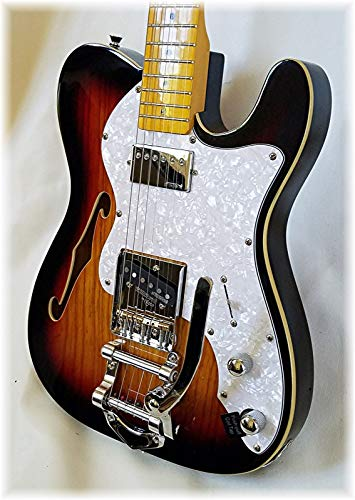 Dillion Deluxe Thin Line Ash Telecaster Electric Guitar Bigsby Style Tremolo