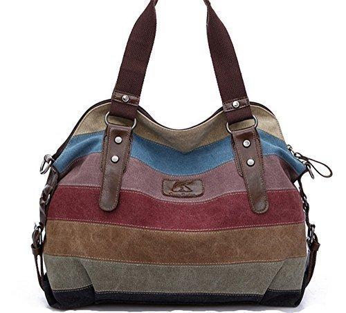 Zhao&ans New Fashion Multi-color Canvas Tote Hobo Shopper Handbag Top Handle Shoulder Bag for Women (Hobo Handbag Square)