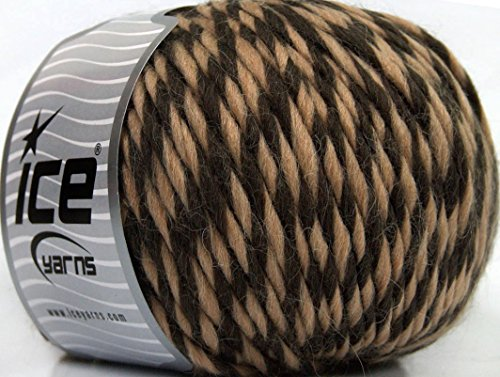Lot of 4 x 100gr Skeins Ice Yarns INCA ALPACA BULKY (40% Alpaca 50% Virgin Wool) Yarn Dark Brown Camel (Inca Yarn Alpaca)