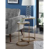 Convenience Concepts 413555M Gold Coast Nesting End Tables Faux Marble, Faux Marble / Gold