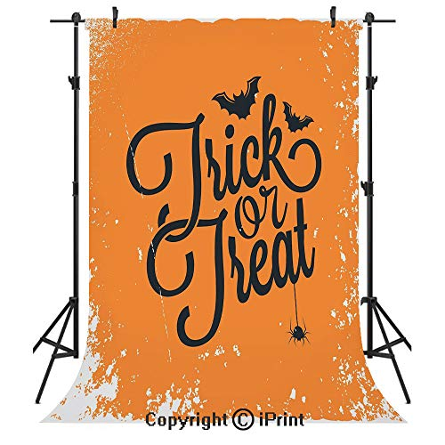 Vintage Halloween Photography Backdrops,Trick or Treat Halloween Theme Celebration Image Bats Tainted Backdrop Decorative,Birthday Party Seamless Photo Studio Booth Background Banner 10x20ft,Orange Bl