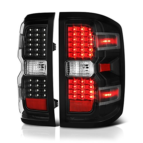 VIPMOTOZ Black Housing LED Tail Light Lamp Assembly For 2014-2018 Chevy Silverado 1500 2500HD 3500HD Incandescent Model, Driver & Passenger - Chevy Lights Tail Aftermarket