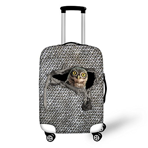1e6572bdbab2 CHAQLIN Funny Animal Owl Design Travel Luggage Cover Suitcase Protective  Case Spandex Fit 22-24 inch Luggage