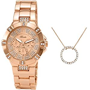 Breda Women's 5180-rosegold.nk Ella Dazzling Dial with Eternity Necklace Set Watch