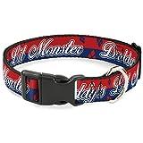 Buckle Down Plastic Clip Collar - Harley Quinn DADDY'S LITTLE MONSTER/Diamonds Stripe Red/Blue/White - 1.5'' Wide - Fits 16-23 Neck - Medium