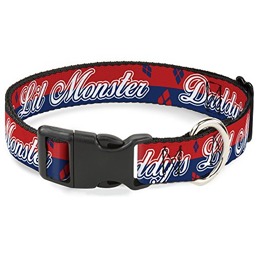 Buckle-Down Plastic Clip Collar - Harley Quinn DADDY'S LITTLE MONSTER/Diamonds Stripe Red/Blue/White - 1