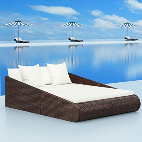 Daonanba 2-person Daybed Comfortable Outdoor Sunbed Garden Furniture Poly Rattan 79
