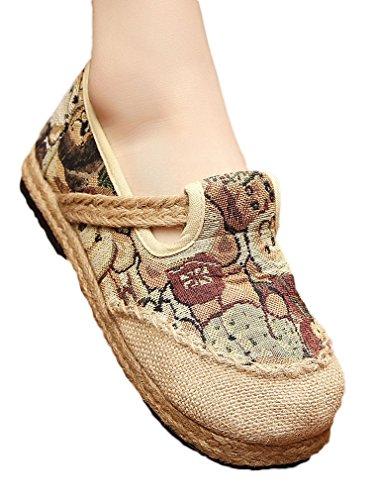 Soojun Womens Linen Exotic Hand-made Capped Toe Bear Espadrille Flat Green XwxdZIcq