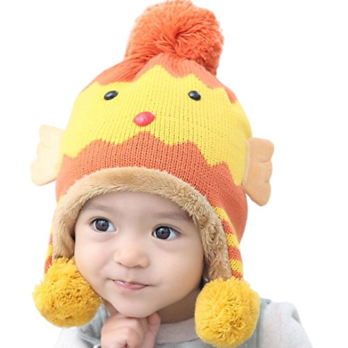 Weiyun Baby Knitted Cartoon Hat Kids Cute Animal Ear Cat Ear Hat Winter Beanies Knitted Cap for Baby Toddlers Boys Girls (Dragon Striped Beanie)