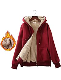 Women's Winter Thick Fleece Lined Full Zip Hoodie Sweatshirt Jacket Outerwear