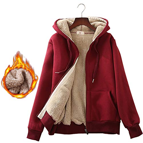 Flygo Women's Casual Warm Thick Sherpa Lined Full Zip Hooded Sweatshirt Jacket Outerwear (Small, Wine Red) (Jacket Womens Holiday)