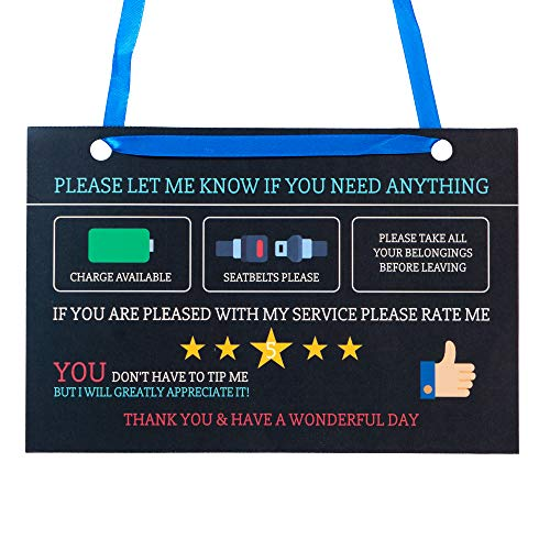 Uber Rating Sign Rideshare Accessories | Large 9 x 6 Inch | Black Premium Tips Card Thick Durable Laminate, 20mm | (Pack of 2)