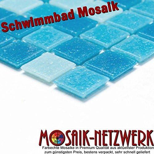 Mosaik MOS52-0402/_m Carrelage de piscine mosa/ïque en verre bleu clair et bleu
