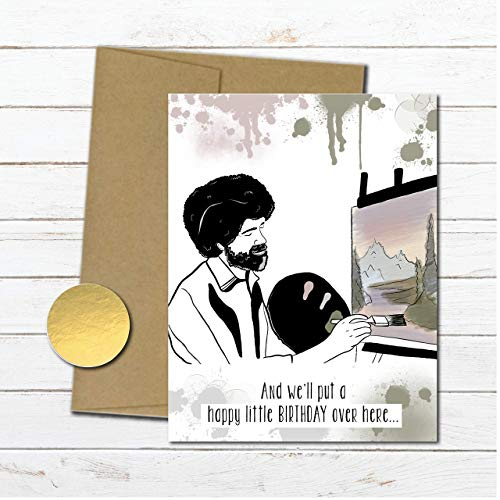 Bob Ross birthday card funny for best friend, meme birthday gift for her, artist painter card for girlfriend, blank inside, pop culture