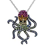 "Crystalogy Women's Jewelry, Sterling Silver Swarovski Rainbow Crystal Octopus Pendant Necklace, 18"" Chain"