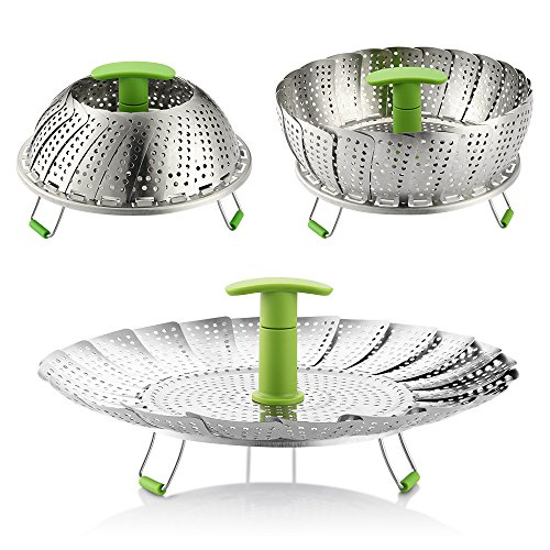 Steamer Basket, 7-11 Zanmini Stainless Steel Vegetable Steamer Basket Foldable Steamer Insert with Extendable Handle for Veggie Fish Seafood Cooking, Expandable to Fit Various Size Pot