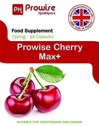 Cereza - Prowise Cherry Max 750 mg 90 cápsulas - Cerezas secas congeladas de alta resistencia Montmorency - Reino Unido Fabricado para GMP de alta calidad ...