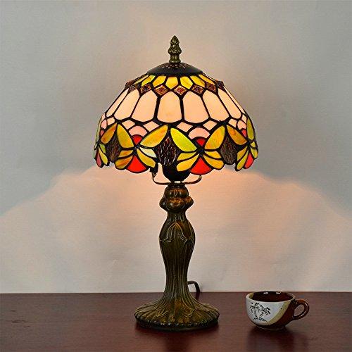 Frideko Retro Tiffany Diameter 20CM Lampshade Bedside Table Lamp for Bedroom Bar Cafe Restaurant (Type (Chrome Triple Light Table Lamp)