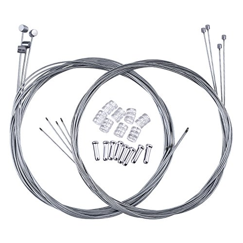 Bike Brake Cable Kit : Hotop set mountain bike brake cable gear wire and