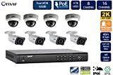 FLIR PoE Home Security Camera System with 8Ch 2TB NVR and (4) Bullet (4) Dome 2K Outdoor IP Cameras, 4X Motorized Optical Zoom, Night Vision, Motion Detection, Email Alert (Without 100ft Cat5e Cable)