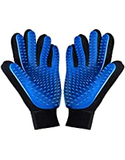 Pet Grooming Glove - Deshedding Brush Gloves for Dogs Cats - Pet Hair Remover Gloves for Long & Short Fur - Enhanced Five Finger Design - Pet Glove Hair Removal-1 pair