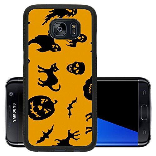 Cute Halloween Pumpkin Clipart (Liili Premium Samsung Galaxy S7 Edge Aluminum Backplate Bumper Snap Case IMAGE ID: 15642620 Halloween seamless pattern with pumpkin cat ghost bat)