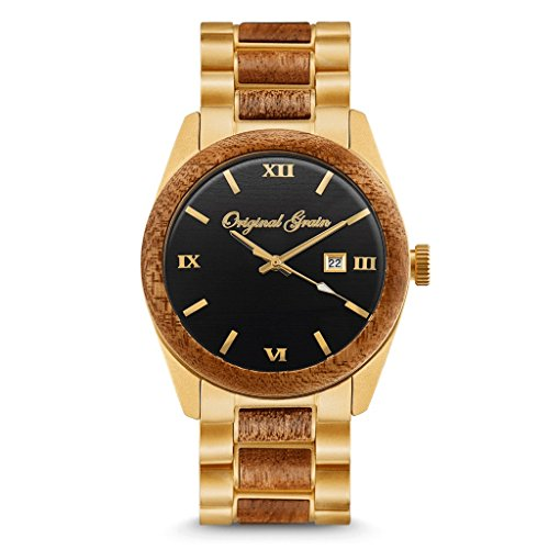 New Original Grain Wood Wrist Watch | Classic Collection 43MM Analog Watch | Wood and Antique Gold Stainless Steel Watch Band | Japanese Quartz Movement | Mahogany Wood