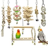 Acidea 7 Packs Bird Parrot Swing Chewing Toys- Natural Wood Hanging Bell Bird Cage Toys Suitable for Small Parakeets, Cockatiels, Conures, Finches,Budgie,Macaws, Parrots, Love Birds