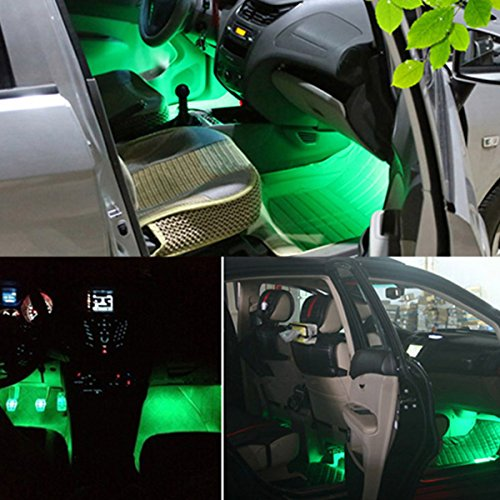audew 4 piece car interior light strips 12led waterproof neon decoration lamp led car charger. Black Bedroom Furniture Sets. Home Design Ideas