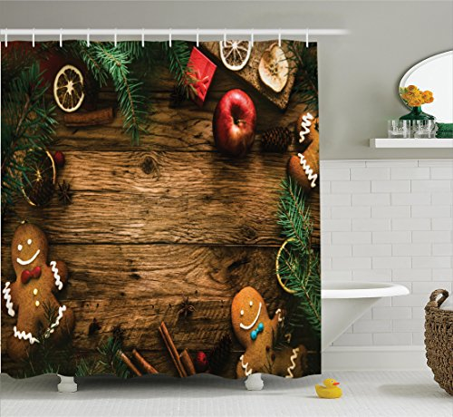 Ambesonne Christmas Decorations Collection, Gingerbread Man Gift Box Image Pine Cinnamon Dessert on Rustic Wood Xmas Themed, Polyester Fabric Bathroom Shower Curtain Set with Hooks, Brown (Gingerbread Man Box)