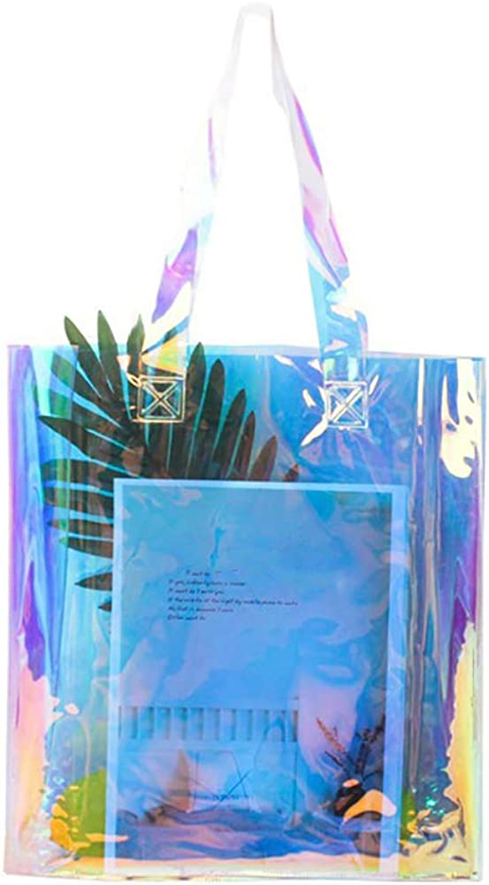 Clear Beach Bags for Women, Fashion Holographic Rainbow Shopping Bag, Big Capacity Tote Bags for Gym, Work, Travel, Stadium Venues or Concert