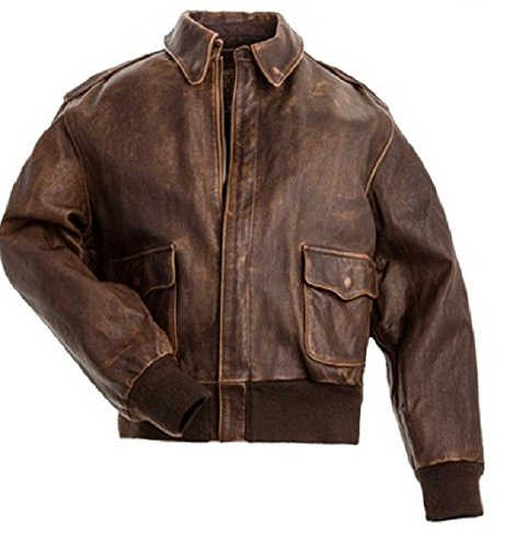 Spazeup A2 Aviator Brown Real Cowhide Distressed Leather Bomber Flight Jacket