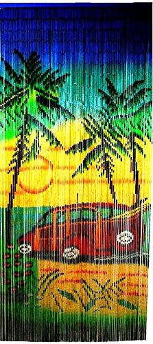 Woody Car Print Beaded Bamboo Curtain, 36''W x 78''H